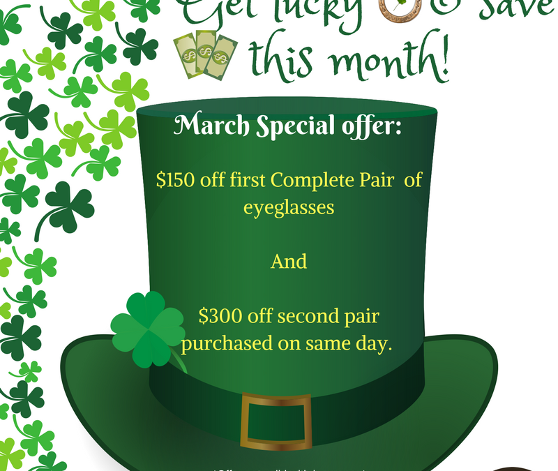 Get Lucky: Save on eyeglasses this month!